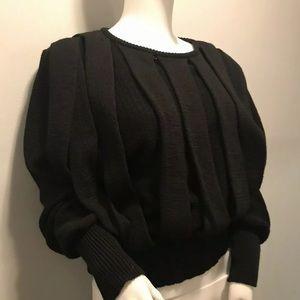 Vintage 80s Bondage Chic Black Sweater New Wave Sm
